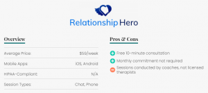 Overview Average Price:​ $59/week Mobile Apps: iOS, Android HIPAA-Compliant: N/A Session Types: Chat, Phone